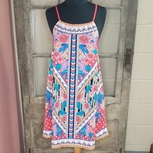 NWT Flying Tomato sun dress XS coral blue green